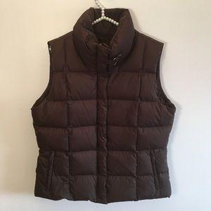 Eddie Bauer brown goose filled down puffer vest XL